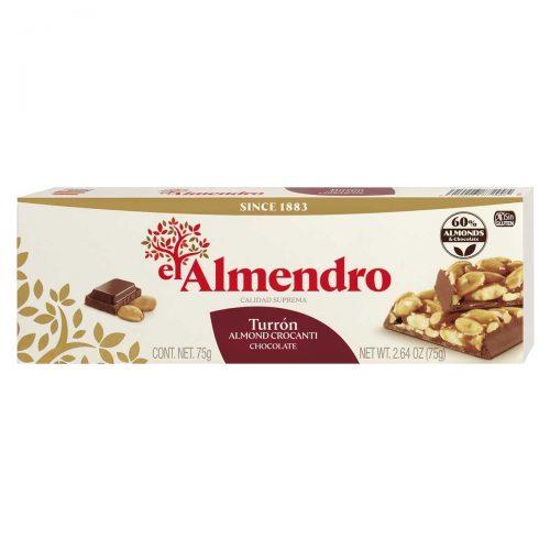 Top Food Feinkost - El Almendro Turrón Crocanti con Chocolate 75g |Mandelkrokant mit Vollmichschokolade