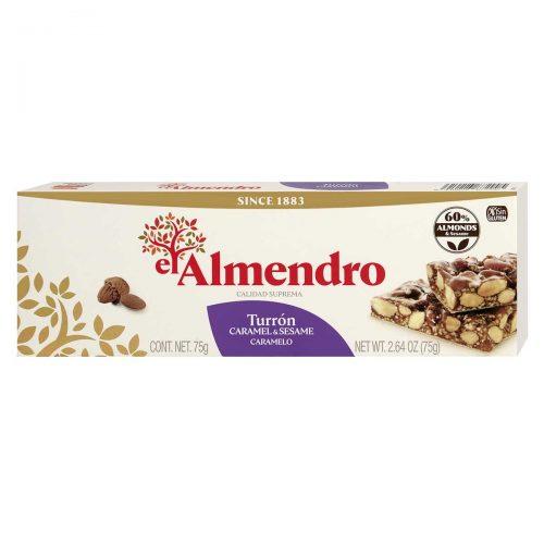 Top Food Feinkost - El Almendro Turrón Caramelo 75g |Mandel-Sesam Karamell mit Honig