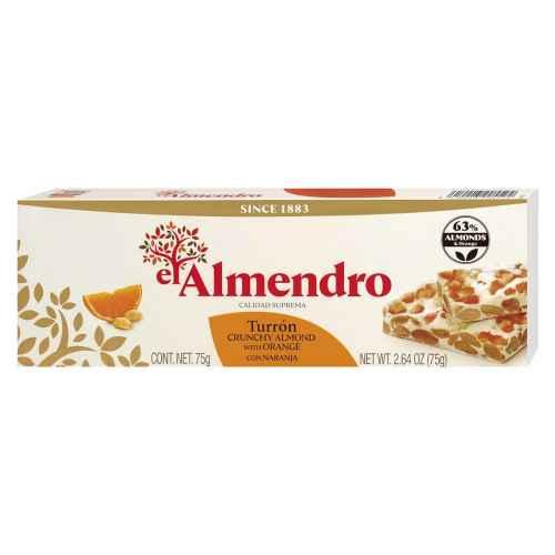 Top Food Feinkost - El Almendro Turrón con Naranja 75g |Weißer Nougat mit Mandeln und kandierter Orangenschale