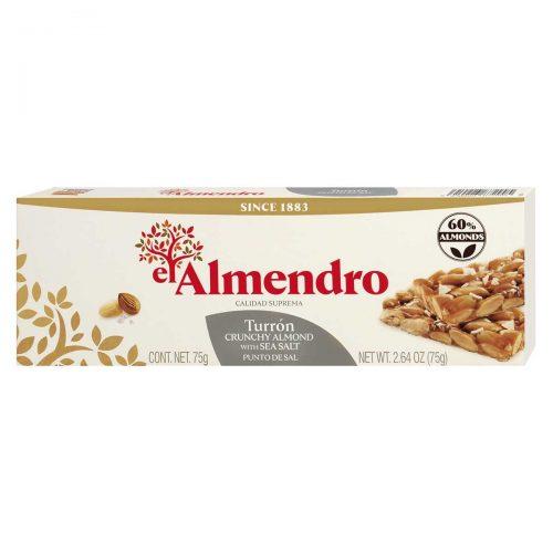 Top Food Feinkost - El Almendro Turrón al Punto de Sal 75g |geröstete Mandeln in Salzkaramell