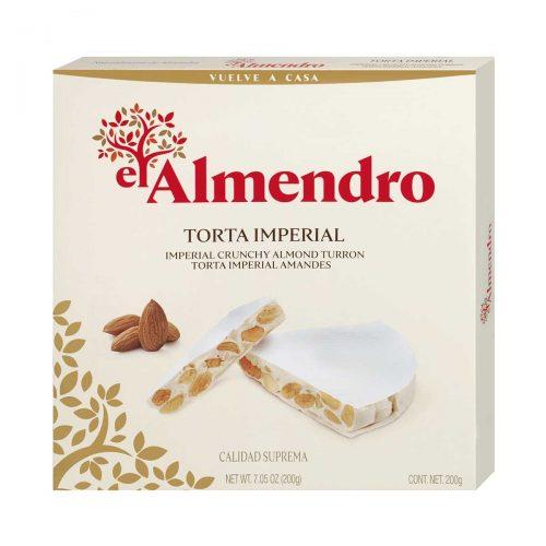 Top Food Feinkost - El Almendro Torta Imperial 200g |Klassischer weißer Nougat in Form einer runden Torte
