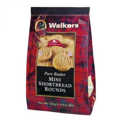 Top Food Feinkost - Walkers Shortbread Ltd. Mini Shortbread Rounds 125g |Mini Shortbread Rounds im wiederverschließbaren Cellobeutel